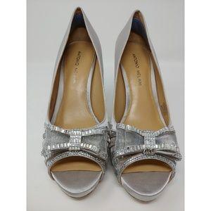 Antonio Melani Silver Satin Shoes with Rhinestones
